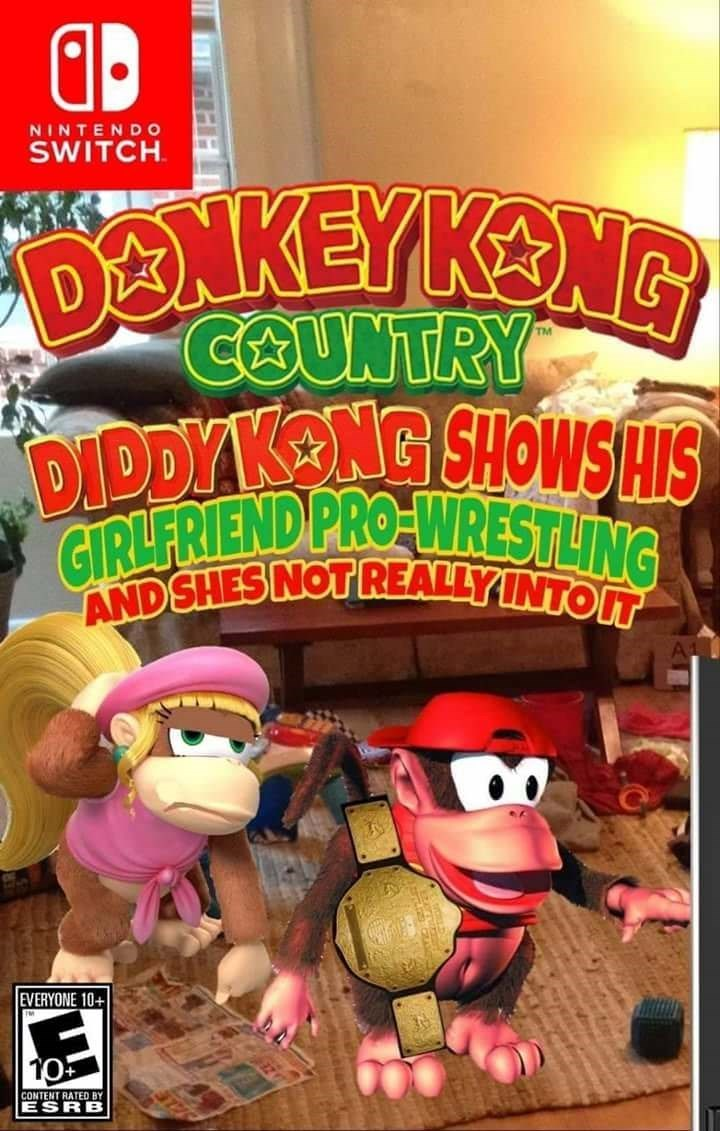 Cartoon - NINTENDO SWITCH DONKEYKENG COUNTRY DIDDYAKENG SHOWSHIS GIRLERIEND PROWRESTLING ANDSHES NOT REALLYINTOL EVERYONE 10+ CONTENT RATED BY ESRB