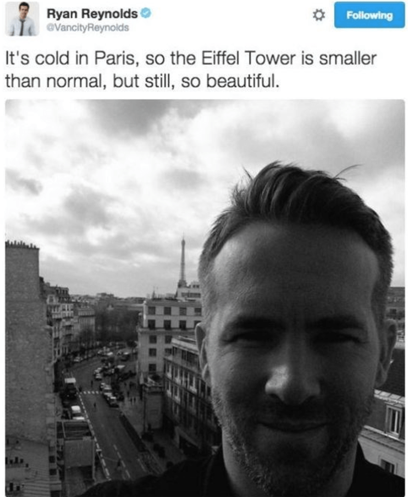 Tweet by Ryan Reynolds about the Eiffel Tower being a bit smaller because of the cold, but beautiful none the less