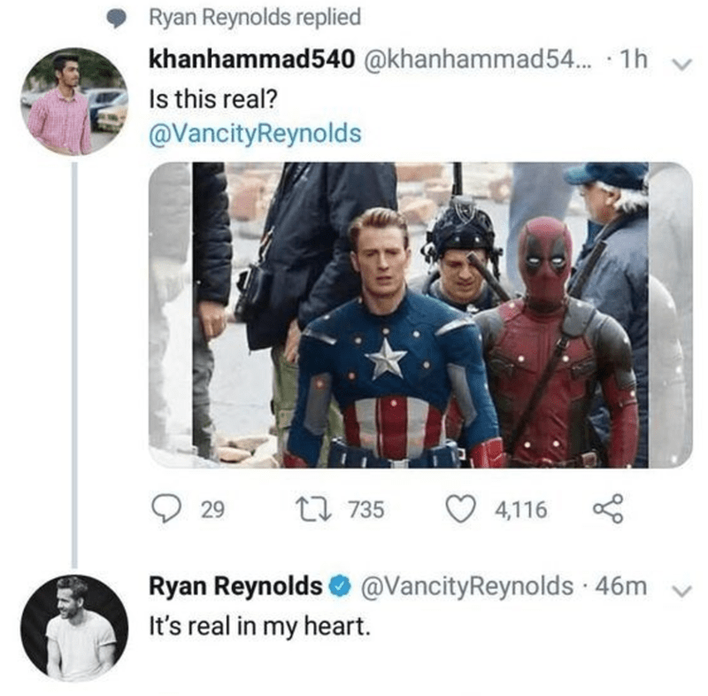 Deadpool and Captain America tweet that is real in Ryan Reynolds heart