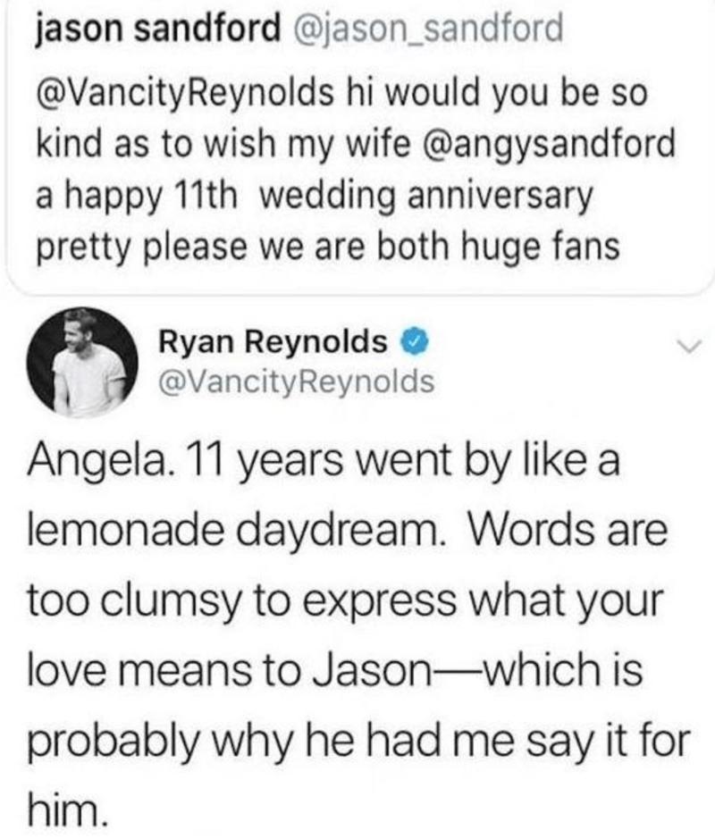 Ryan Reynolds fixes someone else's tweet for 11 year anniversary