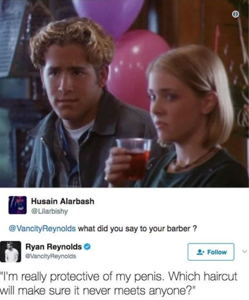 Ryan Reynolds joking about his bad haircuts on Twitter