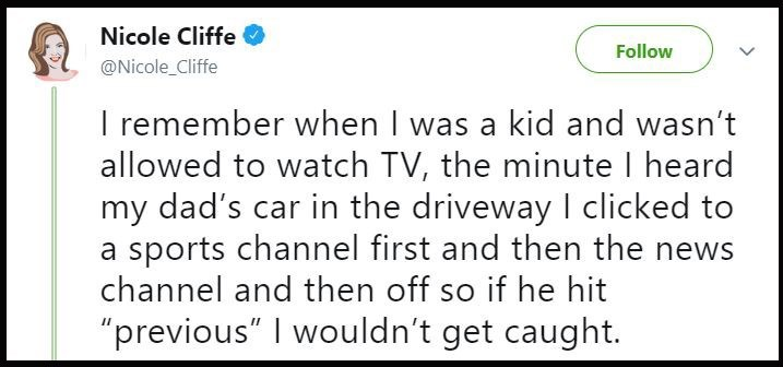 Tweet about getting around the no-tv rule by turning the channel to make it look like she wasn't watching tv