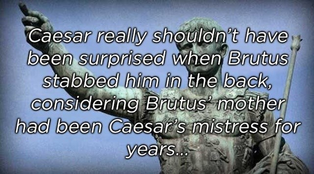 Text - Caesar really shouldn't have been surprised when Brutus stabbed him in the back, considering Brutus mother had been Caesars mistress for years.