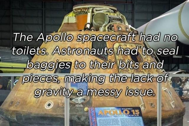 Vehicle - The Apollo spacecraft had no toilets. Astronauts had to seal baggies to their bits and pieces, making the lack of gravity a messy issue RAN ROCKWEL tn aa APOLLO 15 COMM beWes2NDEAVOUR