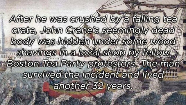 Text - After he was crushed by a falling tea crate, John Crane's seemingly dead body was hidden under some wood Shavings ina local shop oy fellow Boston Tea Party protestors The man survived the incident and lived another 32 years