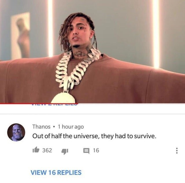 Funny meme about thanos, lil pump, kante west.