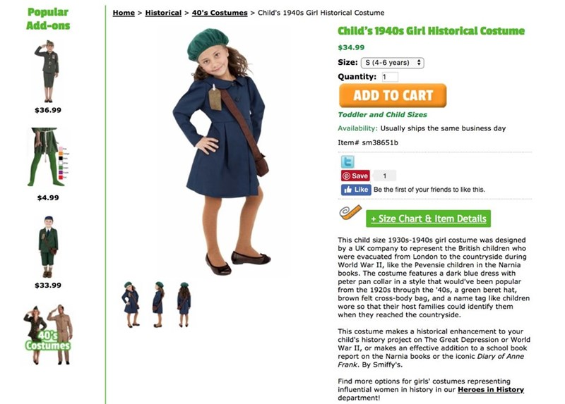 Outerwear - Popular Add-ons Home > Historical > 40's Costumes> Child's 1940s Girl Historical Costume Child's 1940s Girl Historical Costume $34.99 Size: S (4-6 years) Quantity: 1 ADD TO CART $36.99 Toddler and Child Sizes Availability: Usually ships the same business day Item# sm38651b O Save Like Be the first of your friends to like this. $4.99 +Size Chart& Item Details This child size 1930s-1940s girl costume was designed by a UK company to represent the British children who were evacuated from