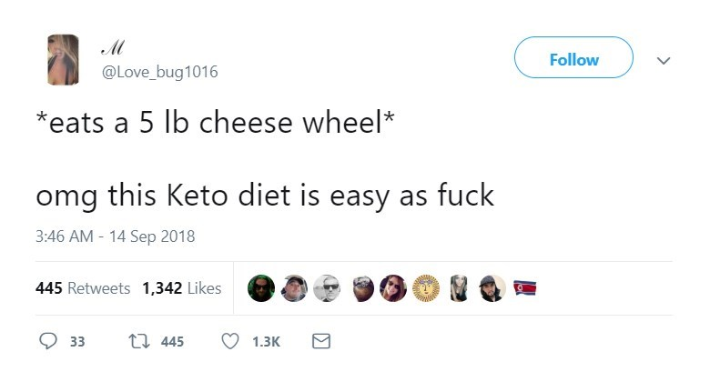 Text - Follow @Love_bug1016 eats a 5 lb cheese wheel* omg this Keto diet is easy as fuck 3:46 AM-14 Sep 2018 445 Retweets 1,342 Likes t 445 33 1.3К