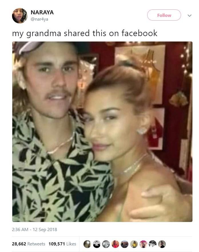 Hair - NARAYA Follow @nar4ya my grandma shared this on facebook 2:36 AM - 12 Sep 2018 28,662 Retweets 109,571 Likes
