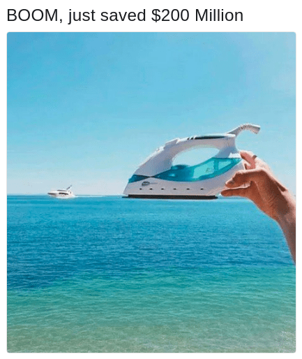 funny meme of an iron yacht