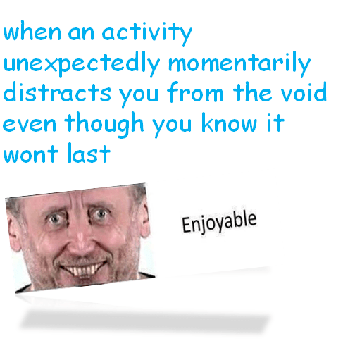 meme - Text - when an activity unexpectedly mormentarily distracts you from the void even though you know it wont last Enjoyable