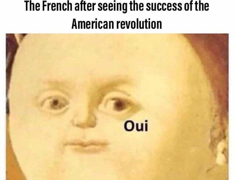 """Caption that reads, """"The French after seeing the success of the American revolution"""" above a pic of the fat renaissance painting of a child saying """"Oui"""""""