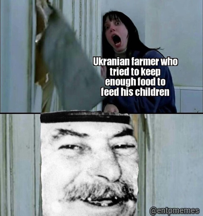 meme - Photo caption - Ukranian farmer who tried to keep enough food to feed his children @entpmemes