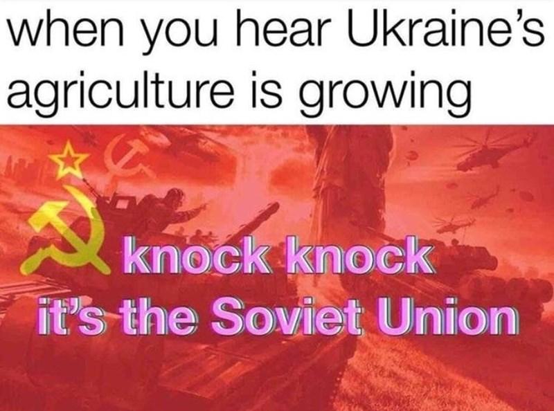 meme - Text - when you hear Ukraine's agriculture is growing knock knock it's the Soviet Union