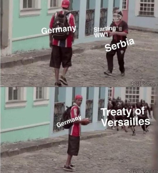 meme - Walking - Germany Starting's ww1 Serbia 4GIFS.com Treaty of Versailles Germany 4GFS.com