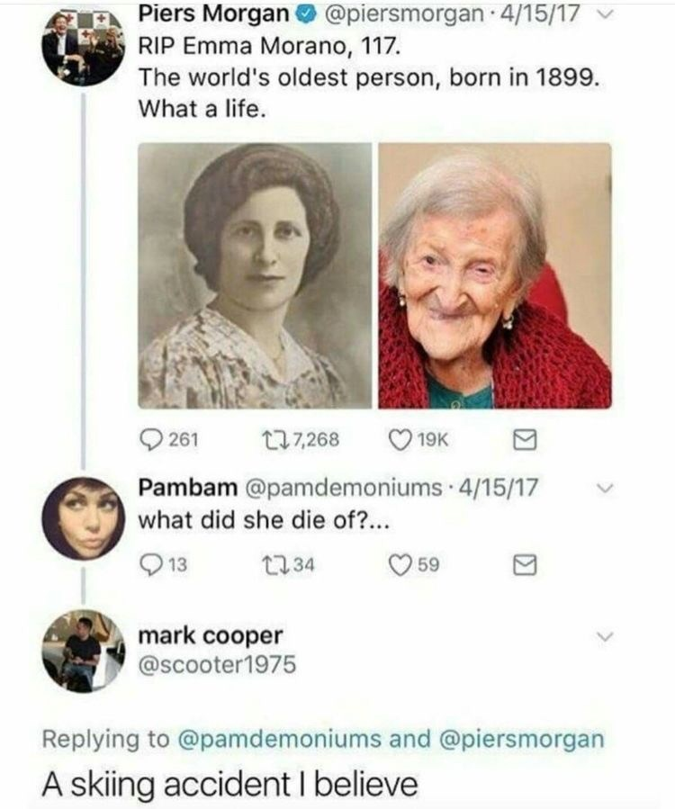 Face - Piers Morgan @piersmorgan 4/15/17 RIP Emma Morano, 117 The world's oldest person, born in 1899. What a life 261 t7268 19K Pambam @pamdemoniums 4/15/17 what did she die of?... 13 t34 59 mark cooper @scooter1975 Replying to @pamdemoniums and @piersmorgan A skiing accident I believe