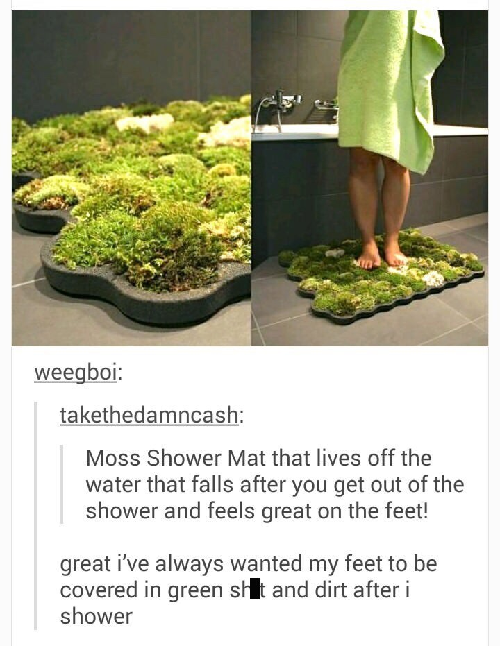 meme - Plant - weegboi: takethedamncash: Moss Shower Mat that lives off the water that falls after you get out of the shower and feels great on the feet! great i've always wanted my feet to be covered in green sht and dirt after i shower