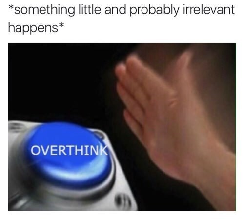 meme - Text - *something little and probably irrelevant happens* OVERTHINK