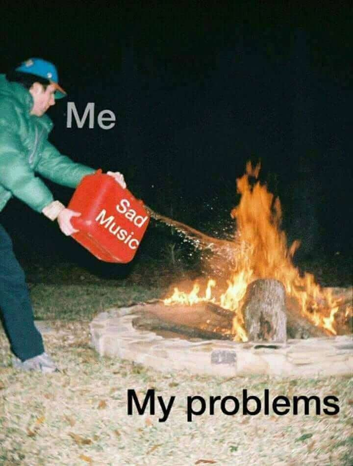 meme - Bonfire - Me Sad Music My problems