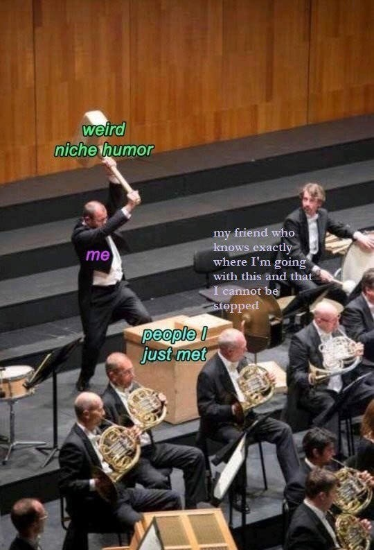 meme - Orchestra - weird niche humor my friend who knows exactly where I'm going with this and that I cannot be Stopped me people just met