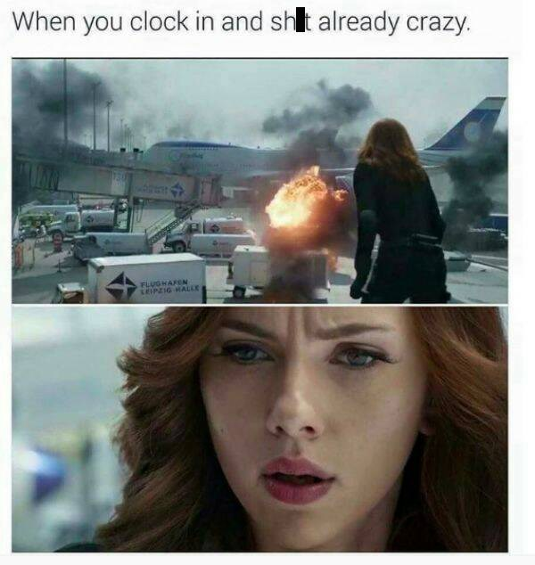work meme about coming into a busy day at work with Black Widow overlooking an explosion