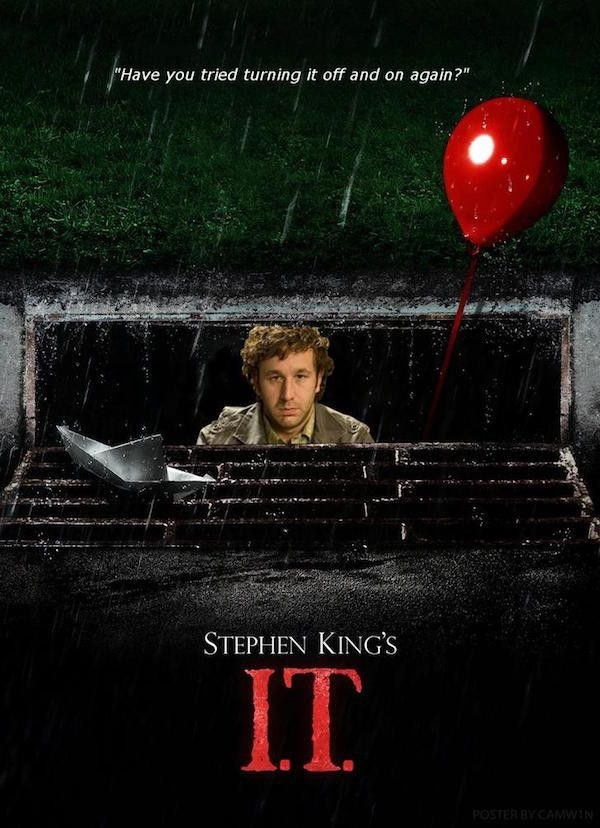work meme parodying the IT movie poster making it about technical support