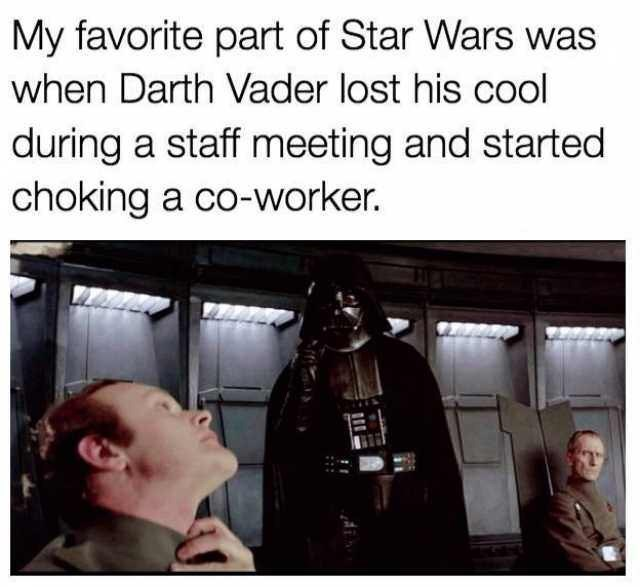 """Caption that reads, """"My favorite part of Star Wars was when Darth Vader lost his cool during a staff meeting and started choking a coworker"""" above a pic of Darth Vader choking one of his generals"""