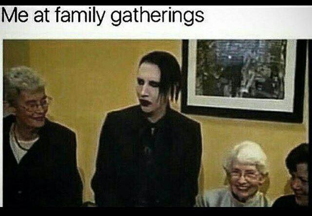 goth meme about goth topics at family gathering with picture of Marilyn Manson and old people smiling