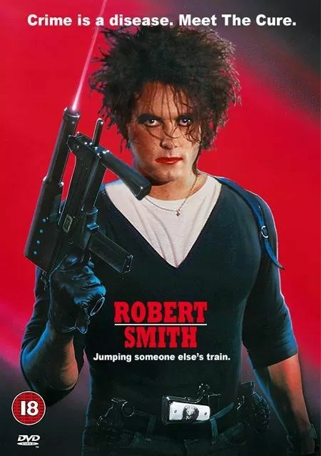 goth meme of Cobra movie poster with picture of Robert Smith from The Cure