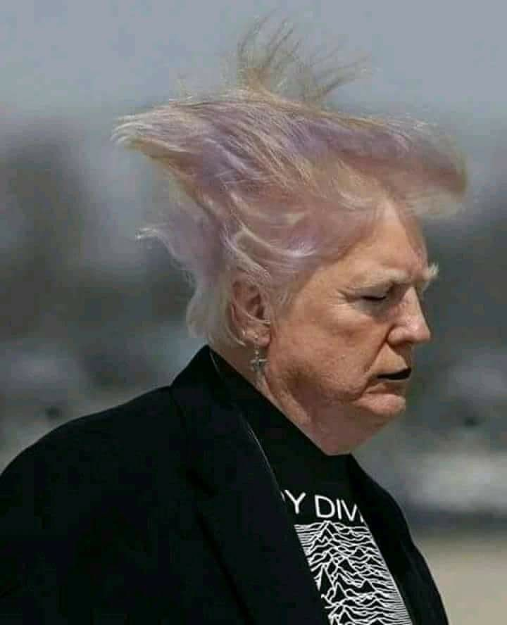 Donald Trump as goth with dark makeup and purple hair