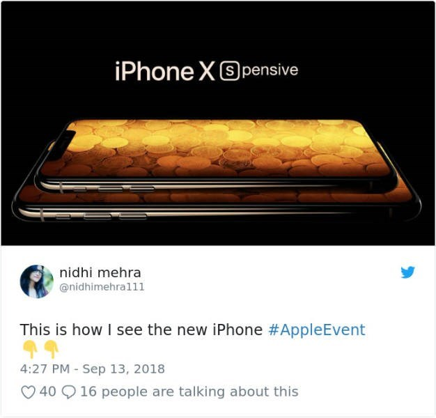 Technology - iPhone X pensive nidhi mehra @nidhimehra111 This is how I see the new iPhone #AppleEvent 4:27 PM - Sep 13, 2018 16 people are talking about this 40