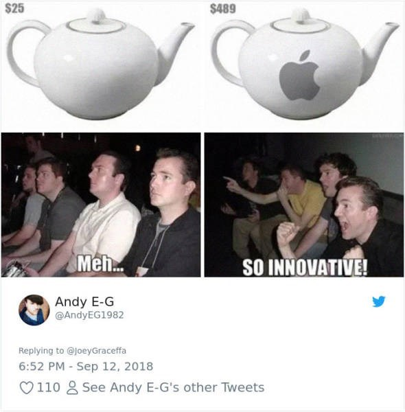 Font - $25 $489 Meh.. SO INNOVATIVE! Andy E-G @AndyEG1982 Replying to @JoeyGraceffa 6:52 PM - Sep 12, 2018 See Andy E-G's other Tweets 110