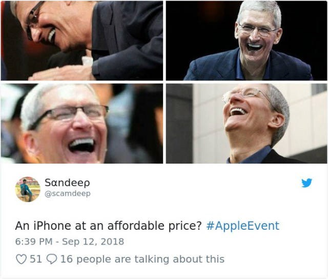Face - Sandeep @scamdeep An iPhone at an affordable price? #AppleEvent 6:39 PM - Sep 12, 2018 51 16 people are talking about this