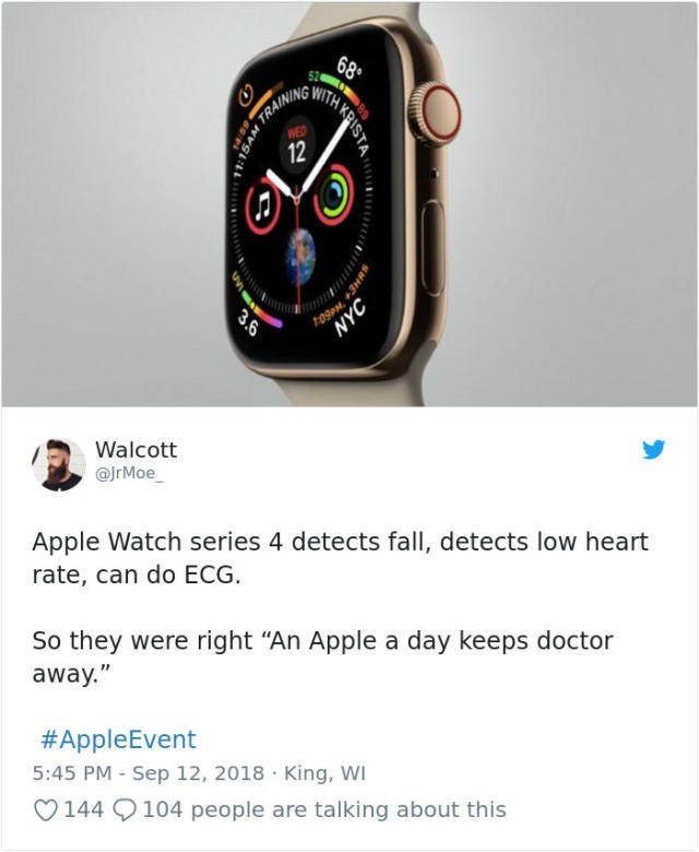 """Watch - 68 TRAINING WITH WED 12 Walcott @JrMoe Apple Watch series 4 detects fall, detects low heart rate, can do ECG So they were right """"An Apple a day keeps doctor away."""" #AppleEvent 5:45 PM Sep 12, 2018 King, WI 144 9104 people are talking about this 3.6 NYC"""