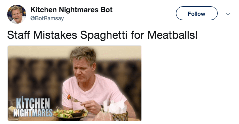 Text - Kitchen Nightmares Bot Follow BotRamsay Staff Mistakes Spaghetti for Meatballs! KITCHEN NIGHTMARES