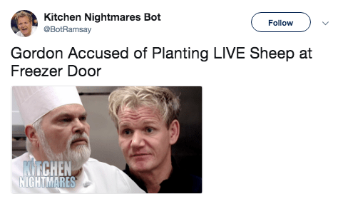 Head - Kitchen Nightmares Bot eBotRamsay Follow Gordon Accused of Planting LIVE Sheep at Freezer Door KITCHEN NIGHTMARES
