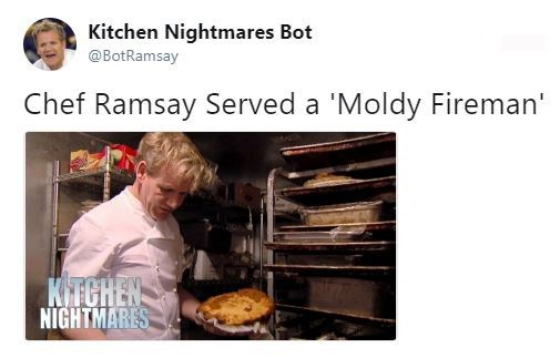 """Tweet that reads, """"Chef Ramsay served a 'Moldy Fireman'"""""""