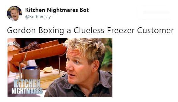 Hair - Kitchen Nightmares Bot @BotRamsay Gordon Boxing a Clueless Freezer Customer KITCHEN NIGHTMARES