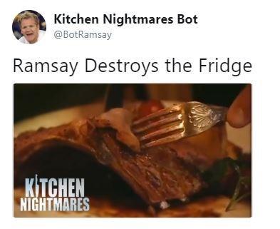 Churrasco food - Kitchen Nightmares Bot @BotRamsay Ramsay Destroys the Fridge KITCHEN NIGHTMARES