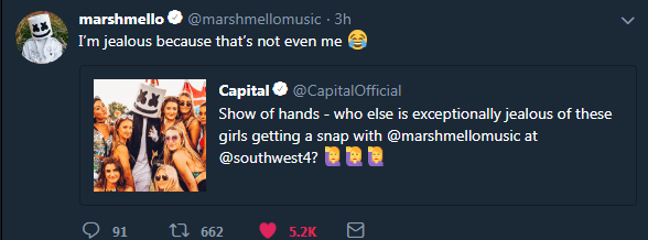 twitter picture girls I'm jealous because that's not even me Capital @CapitalOfficial Show of hands - who else is exceptionally jealous of these girls getting a snap with @marshmellomusic at @southwest4? 91 ti662 5.2K