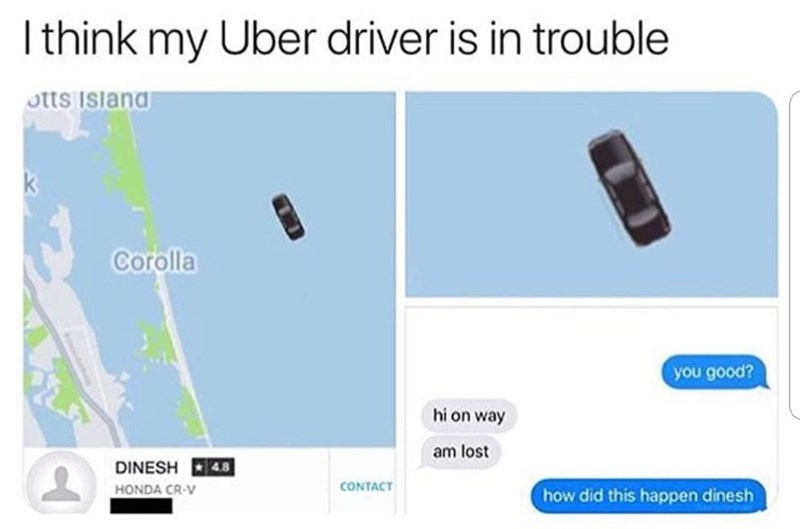 Text message conversation that shows an Uber driver apparently driving in a body of water