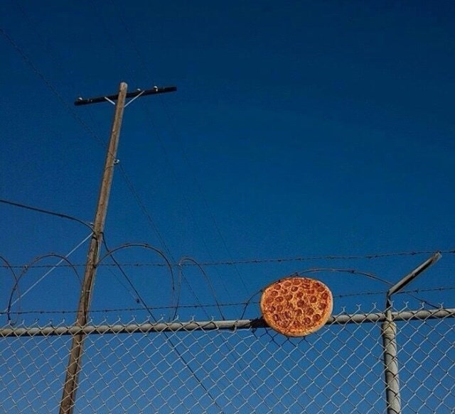 cursed image of pepperoni pizza stuck on top of barbed wire fence
