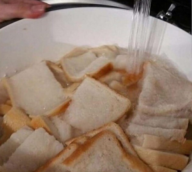 cursed image of filling bowl of bread slices with water