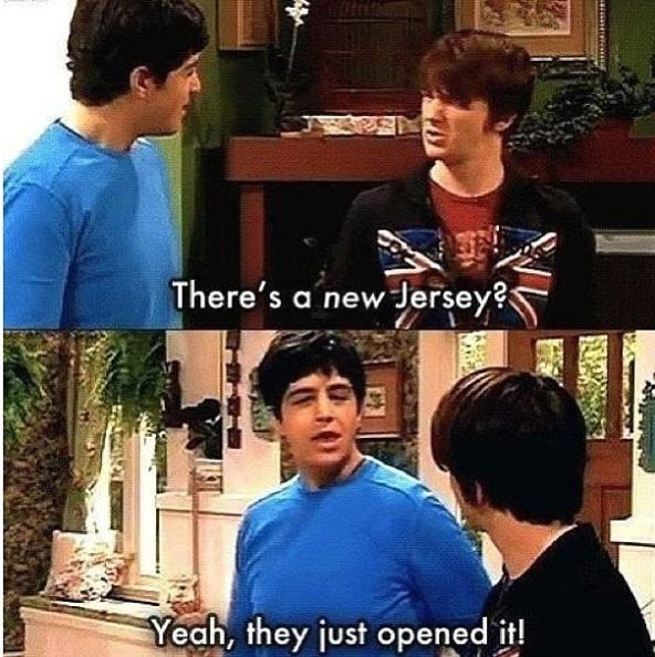 drake and josh meme - Facial expression - There's a new Jersey? Yeah, they just opened it!