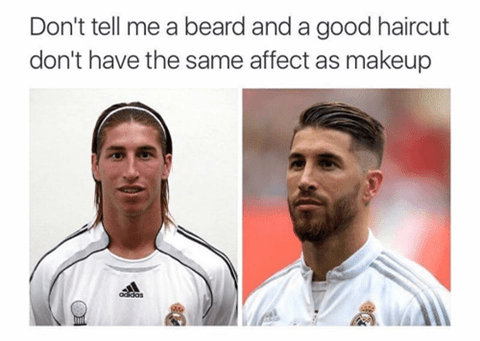 Face - Don't tell me a beard and a good haircut don't have the same affect as makeup oddas