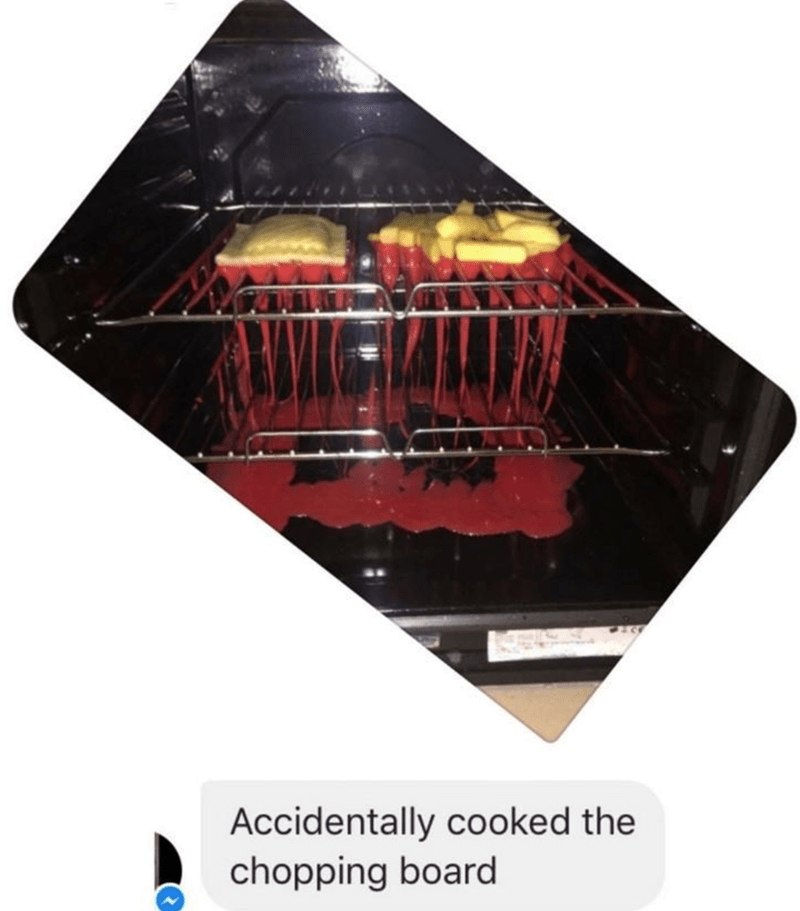 FAIL of a plastic chopping board melted in the oven