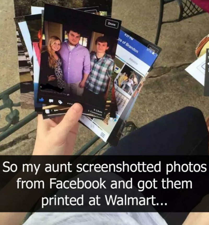 Aunt screenshotted from facebook and got them printed at Walmart