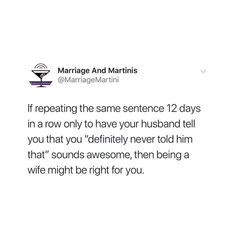 """Tweet that reads, """"If repeating the same sentence 12 days in a row only to have your husband tell you that 'you definitely never told him that' sounds awesome, then being a wife might be right for you"""""""
