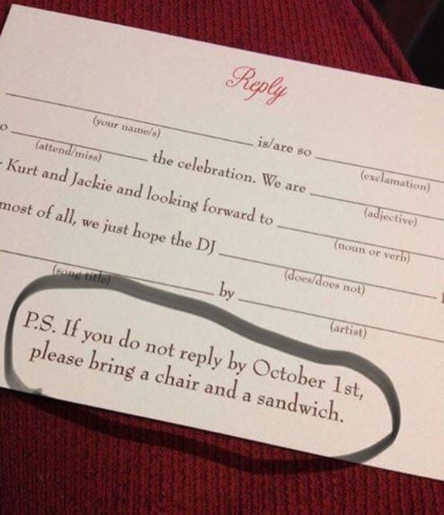 "RSPV card with a note that reads, ""P.S. If you do not reply by October 1st, please bring a chair and a snack"""