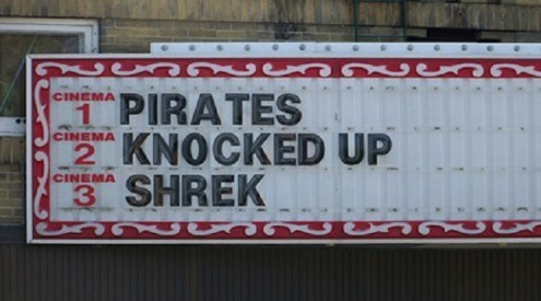 Text - CINEMA 1PIRATES 2 KNOCKED UP 3 SHREK CINEMA CINEMA